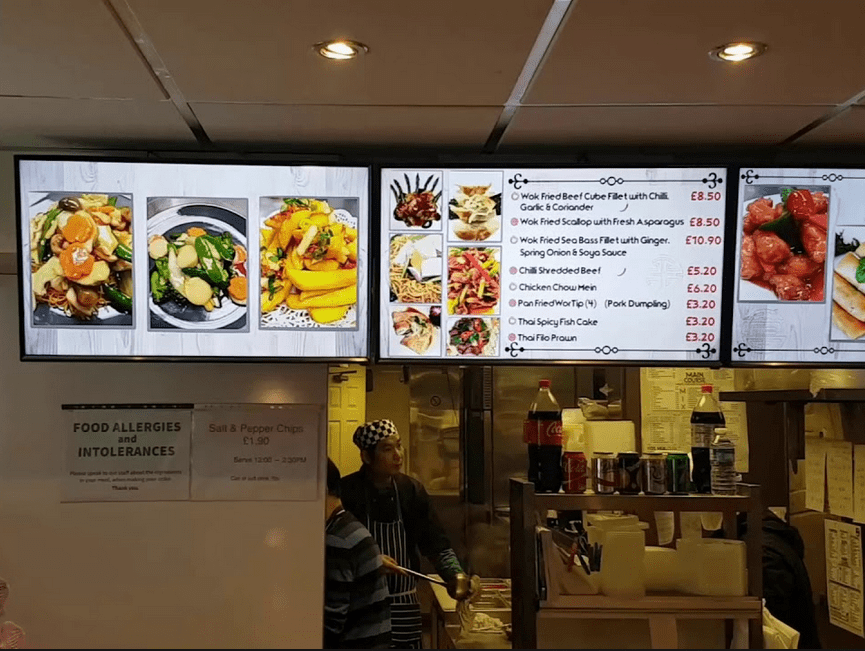 Illuminted menu pannels for fast foods