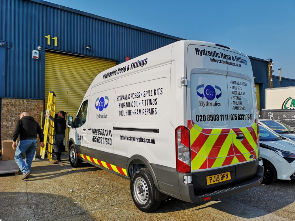 Hydraulic Hose Van Stickers applied on new van