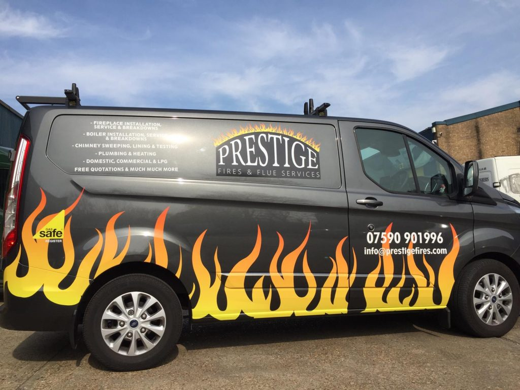 Prestige the van with fire flames