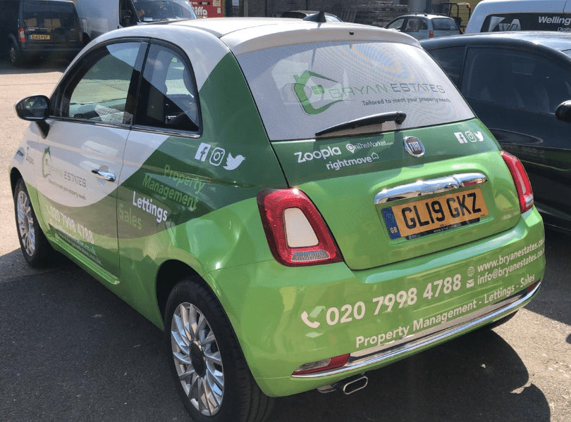 Bryan Estates Car Wrapping with one way vision on the windows