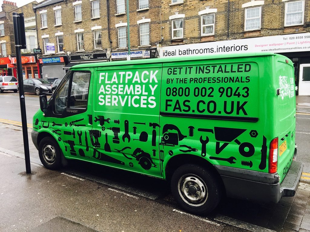 Flatpack green Full wrap vinyl in Leyton