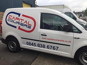 Capital Couriers Stickers applied for small vans