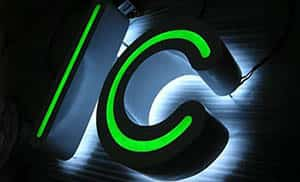 Ic 3D letters Illuminated Signs with green light