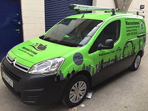 Marcus James Van - green Vinyl Full Wrapping Small Vans