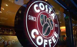 Costa Rounded Projection Signs Near Clapham Junction