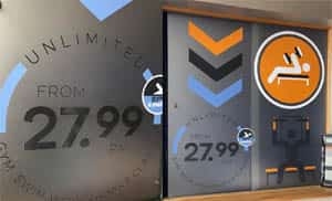 Fitness 4 less - Frost Window Graphics
