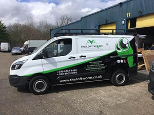 The green worm Half Van Wrapping with green and black vinyl