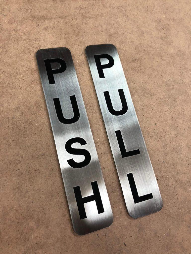 Push Door Sign Mettalic
