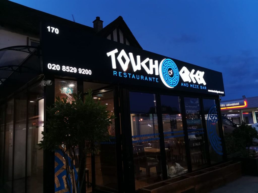 Touch Of Greek 3D Illuminated Sign White & Blue