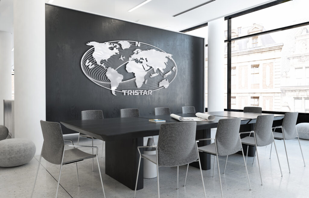 Tristar Stainless Steel Sign on the wall